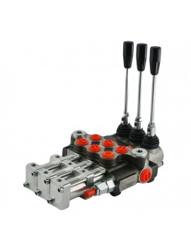 Hydraulic valve 3 spool 40 l/min 11 GPM controlled pneumatically
