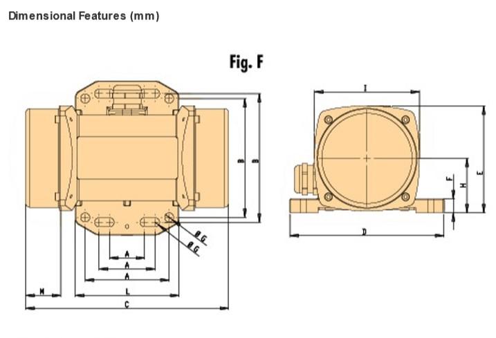 OLI Vibrator motor dimensions